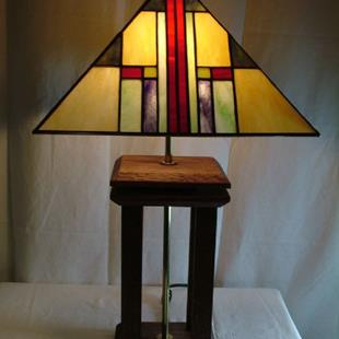 Art: Stained Glass Mission-Style Waterfall Lamp by Artist Linda J. McGarvey