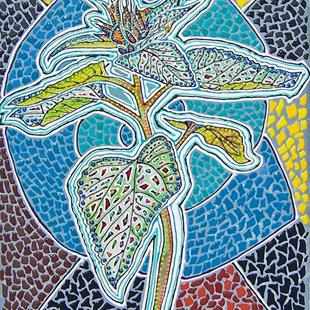 Art: Sunflower bud mosaic by Artist Joan Hall Johnston