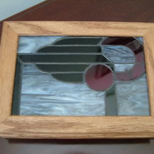 Art: Oak Box #1 with Stained Glass Inset by Artist Linda J. McGarvey