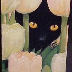 Art: TULIP CAT by Artist Rosemary Margaret Daunis