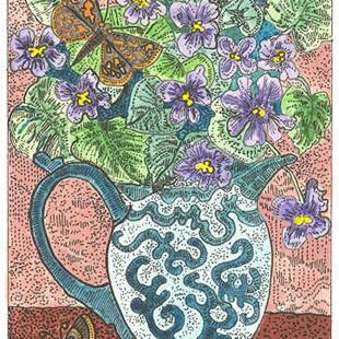 Art: Meadow Violet's in Pitcher by Artist Theodora Demetriades