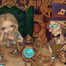 Art: Steampunk Alice in Wonderland:  Alice and the Mad Hatter by Artist Jasmine Ann Becket-Griffith