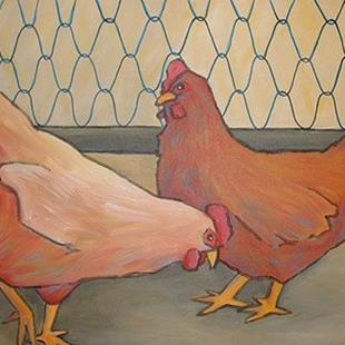 Art: Two Hens by Artist Lindi Levison