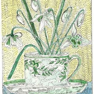 Art: TEA CUP FULL OF SNOWDROPS by Artist Theodora Demetriades
