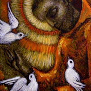 Art: SAINT FRANCIS OF ASSISI & DOVES by Artist Cyra R. Cancel