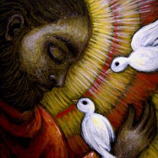 Art: **SAINT FRANCIS OF ASSISI - THE MESSAGE by Artist Cyra R. Cancel