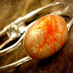 Art: CRACKED ORANGE AND CREAM ORIGINAL DESIGN POLYCLAY CABACHON AND SILVER BRACE by Artist Sarah Thomas