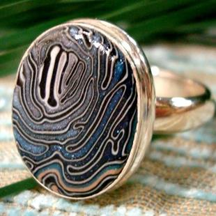 Art: BLUE WAVE HANDCRAFTED CABACHON STERLING SILVER RING by Artist Sarah Thomas