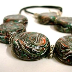 Art:  COIN DISC HANDMADE POLY CLAY BEAD NECKLACE - ORIGINAL DESIGN  by Artist Sarah Thomas