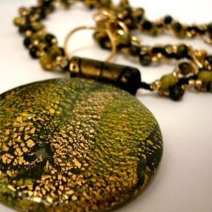 Art: GREEN ENVY HANDMADE ORIGINAL PENDANT NECKLACE by Artist Sarah Thomas