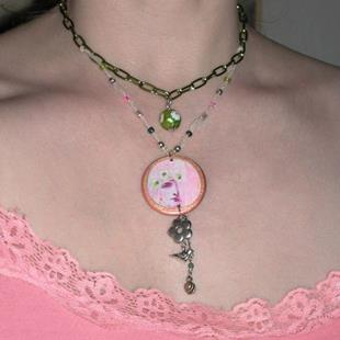 Art: NFS Fairy Goddess ORGANZA & MIXED-MEDIA OOAK Pendant & Necklace by Artist Shawn Marie Hardy