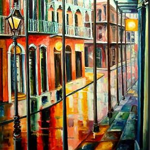 Art: Rain on Royal Street - Large Format - SOLD by Artist Diane Millsap