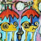 Art: Pugs In An ice Cream Storm by Artist Elisa Vegliante