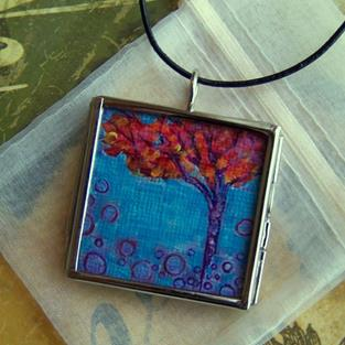 Art: Central Park ~ Glass Locket Pendant & Necklace ~ Sold by Artist Dana Marie