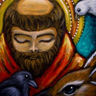 Art: SAINT FRANCIS OF ASSISI - CROW, DEER & DOVE by Artist Cyra R. Cancel