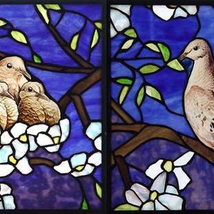 Art: Doves in Crabapple by Artist Dawn Lee Thompson