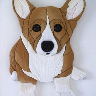 Art: POPPY' CORGI PUP ORIGINAL PAINTED INTARSIA ART by Artist Gina Stern