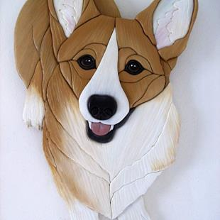 Art: HONEY CORGI  ORIGINAL PAINTED INTARSIA ART by Artist Gina Stern