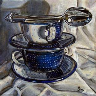 Art: Cups and a Spoon: Polish Pottery LII by Artist Heather Sims