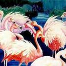 Art: Flocking Flamingos by Artist Susie Barstow