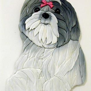 Art: ROSIE SHIH TZU ORIGINAL PAINTED INTARSIA ART by Artist Gina Stern