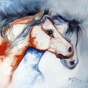 Art: TWO TOBIANO PAINT HORSES by Artist Marcia Baldwin