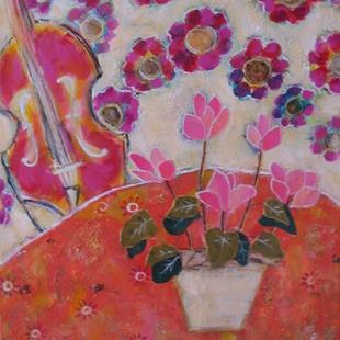 Art: Cyclamen and Violin by Artist Andrea Dodwell