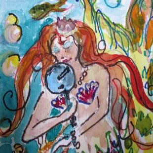 Art: Mermaid with Mirror Aceo-sold by Artist Delilah Smith