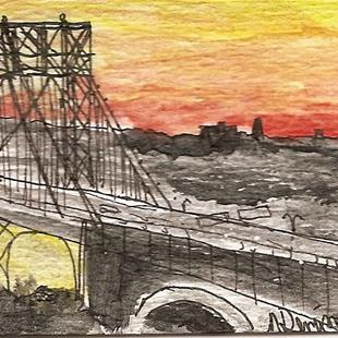 Art: George Washington Bridge at Dusk by Artist Nancy Denommee
