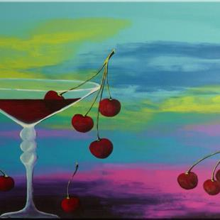 Art: GLASS WITH CHERRIES ,ORIGINAL abstract PAINTING,acrylic on canvas   -  SOLD by Artist Nataera