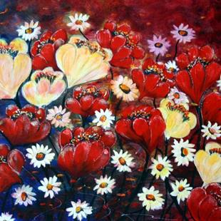 Art: LAND of FLOWERS by Artist LUIZA VIZOLI
