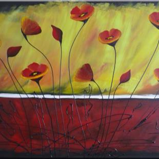 Art: ORIGINAL abstract PAINTING WITH FLOWERS ,acrylic on canvas     -   SOLD by Artist Nataera