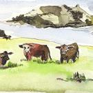 Art: VIEW WITH COWS......aquarell 01 by Artist Gabriele Maurus