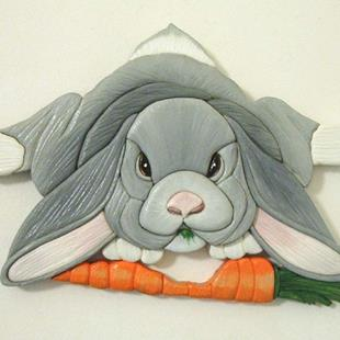Art: BUNNY DINNER TIME ORIGINAL PAINTED INTARSIA ART by Artist Gina Stern
