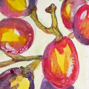 Art: Grapes Aceo by Artist Delilah Smith