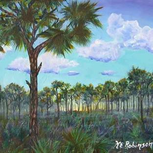 Art: FOGGY PINES - sold by Artist Ke Robinson