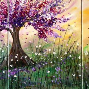 Art: SPRING WIND,LILAC BLOSSOM and WILDFLOWERS FIELD  by Artist LUIZA VIZOLI