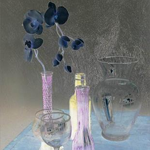 Art: Orchid with Glass by Artist Carolyn Schiffhouer