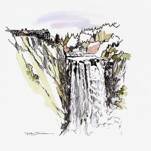 Art: Snoqualmie Falls & Lodge by Artist Patricia  Lee Christensen