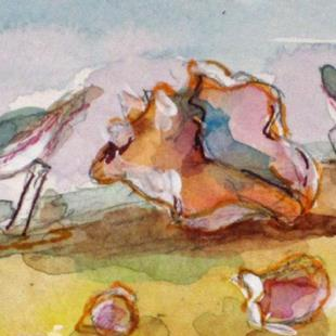 Art: Conch and Sanderlings by Artist Delilah Smith