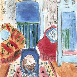 Art: Window at Nice with Cat ala Matisse by Artist Nancy Denommee