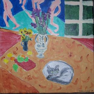 Art: Still Life with the Dance and Cat ala Matisse by Artist Nancy Denommee