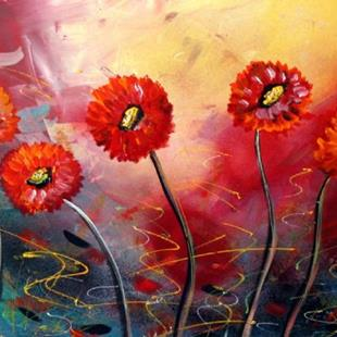 Art: RED SUMMER FLOWERS  by Artist LUIZA VIZOLI