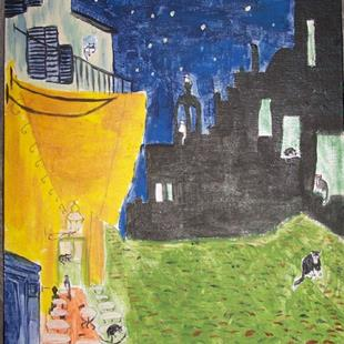 Art: Cafe Terrace at Night with Cats after Van Gogh by Artist Nancy Denommee