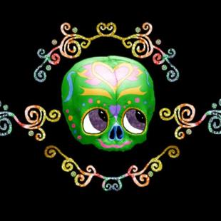 Art: Sugar Skull With Candy by Artist Carissa M Martos