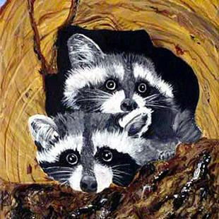Art: Baby Raccoons by Artist Dia Spriggs