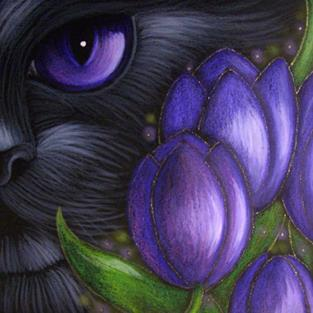 Art: BLACK CAT VIOLET TULIP FLOWERS by Artist Cyra R. Cancel
