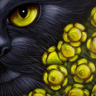 Art: BLACK CAT GOLDEN FENNEL FLOWERS by Artist Cyra R. Cancel