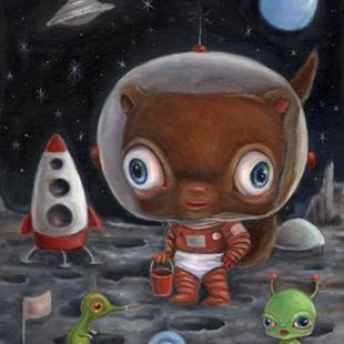 Art: Chipmunk on the Moon, Twice by Artist Vicky Knowles