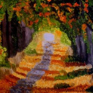 Art: Fall path by Artist Mats Eriksson